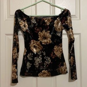 Suede off the shoulder long sleeve Floral top